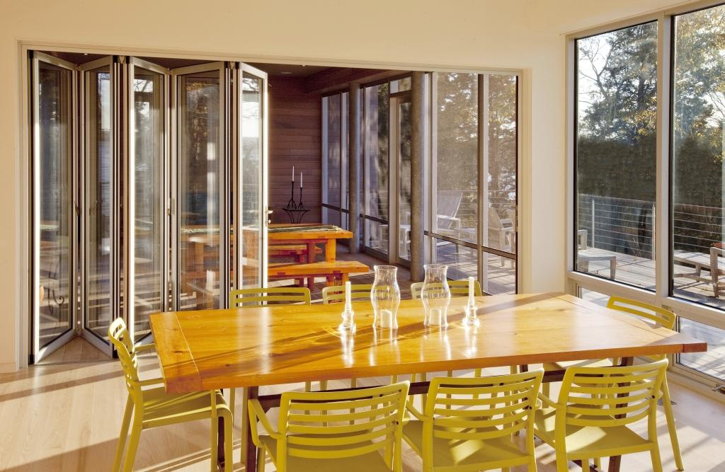 NanaWall at riverfront home by Will Ruhl with screen porch